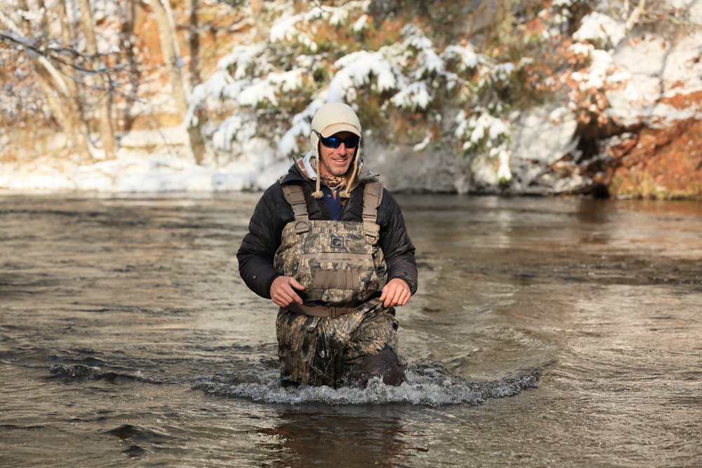 Lodge owner Frank Willetts is in his element on the river.