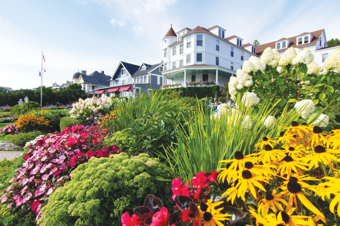 Black-eyed Susans and annuals add color when mixed with hydrangea, sedum and perennials blooming in late August at Island House Hotel.